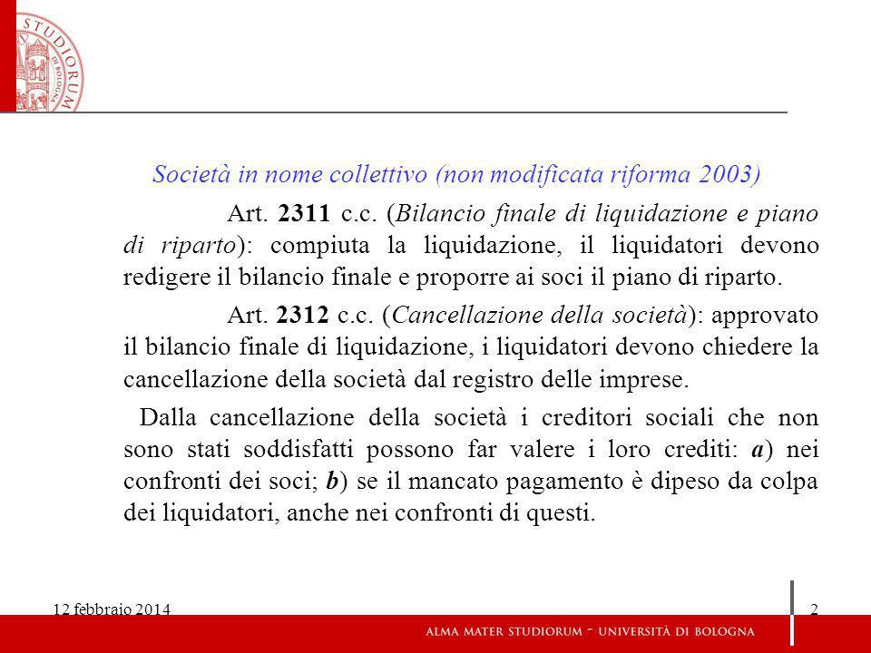 Società in nome collettivo (non modificata riforma 2003)