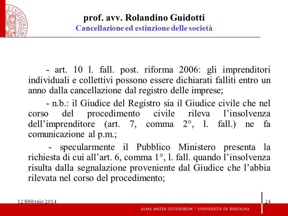 prof. avv. Rolandino Guidotti Cancellazione ed estinzione delle società