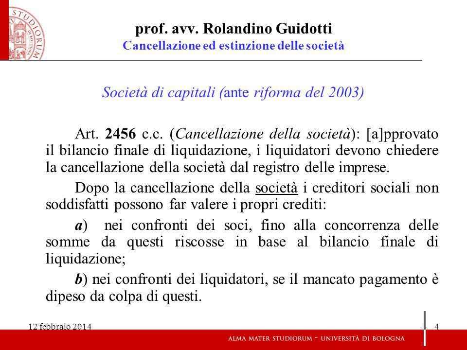 Società di capitali (ante riforma del 2003)