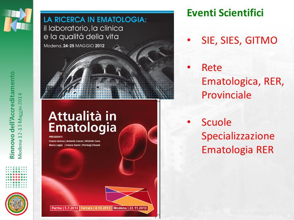 Eventi Scientifici SIE, SIES, GITMO. Rete Ematologica, RER, Provinciale.