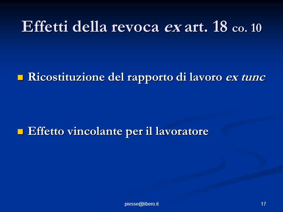 Effetti della revoca ex art. 18 co. 10