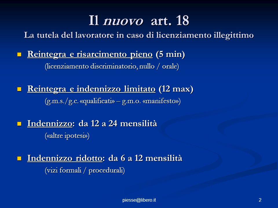 Il nuovo art. 18 La tutela del lavoratore in caso di licenziamento illegittimo