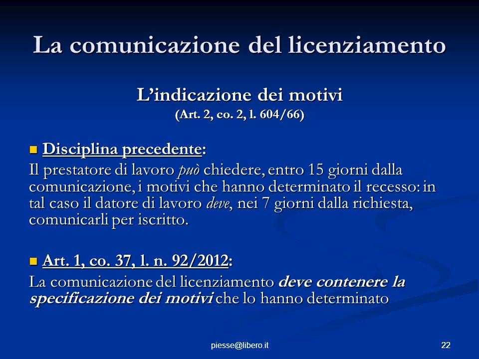 La comunicazione del licenziamento