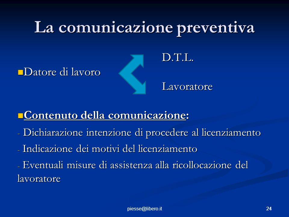 La comunicazione preventiva