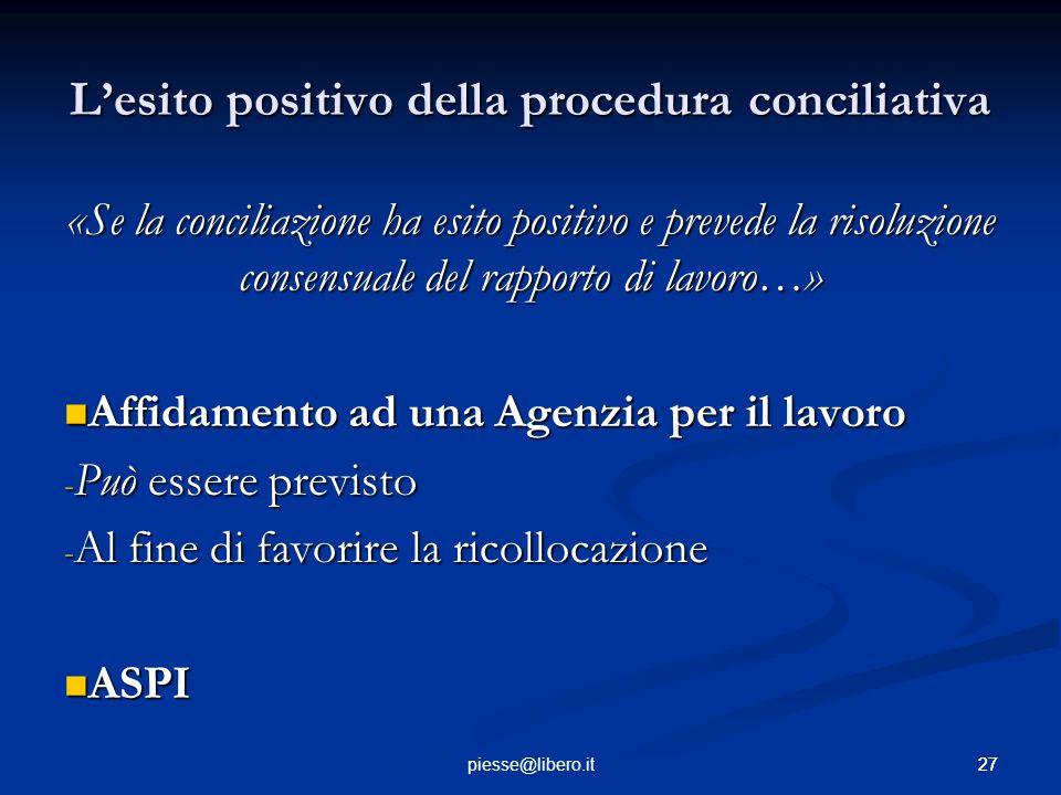 L'esito positivo della procedura conciliativa