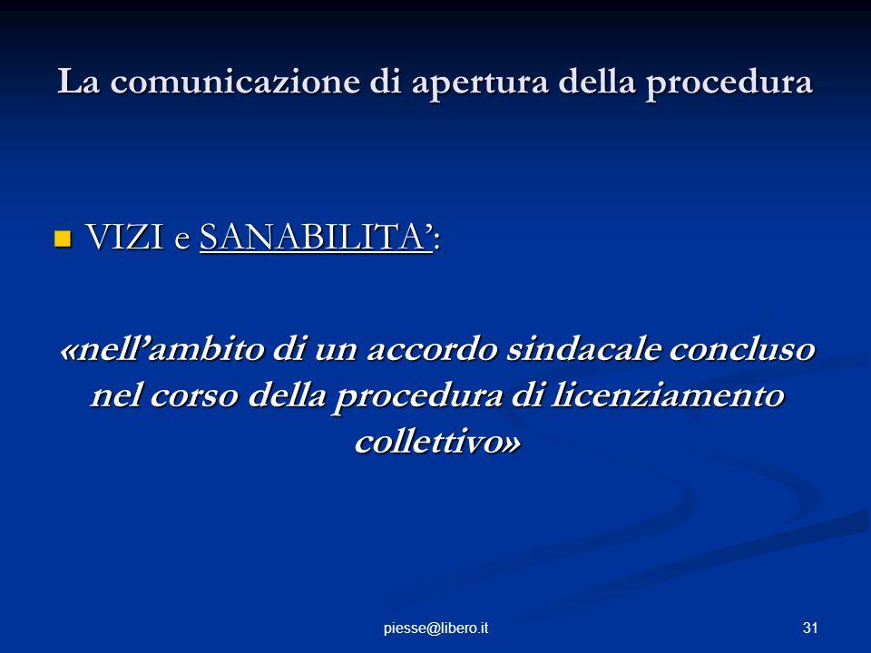 La comunicazione di apertura della procedura