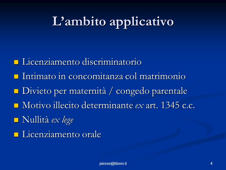 L'ambito applicativo Licenziamento discriminatorio