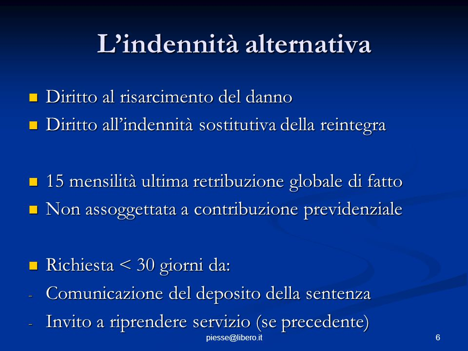 L'indennità alternativa