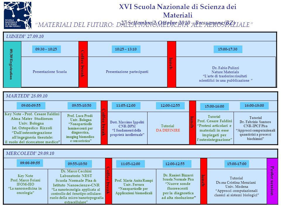 XVI Scuola Nazionale di Scienza dei Materiali