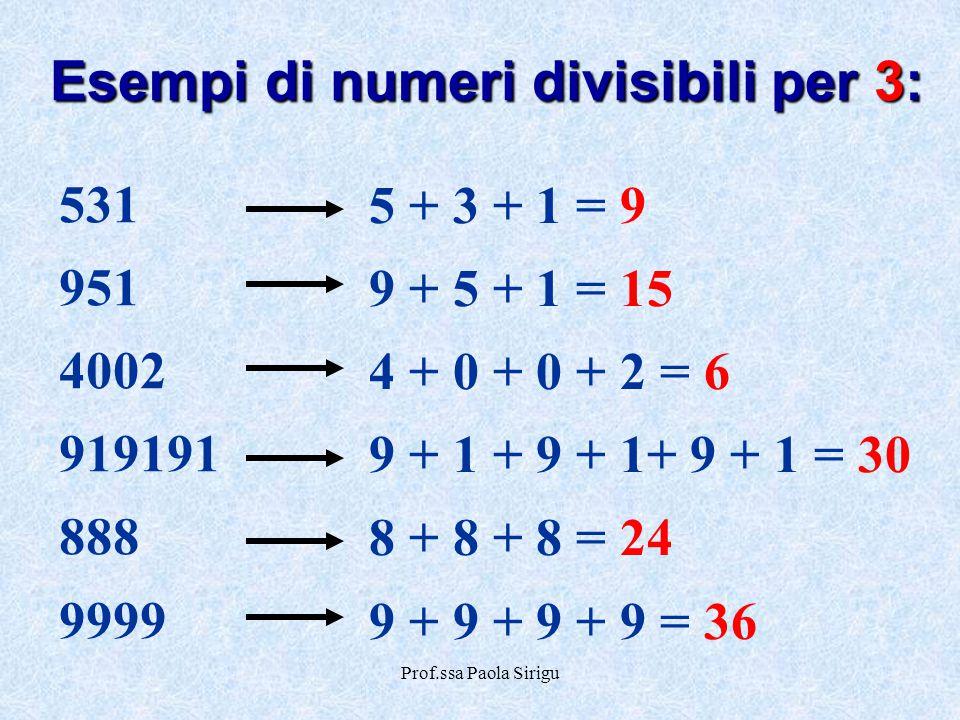 Esempi di numeri divisibili per 3: