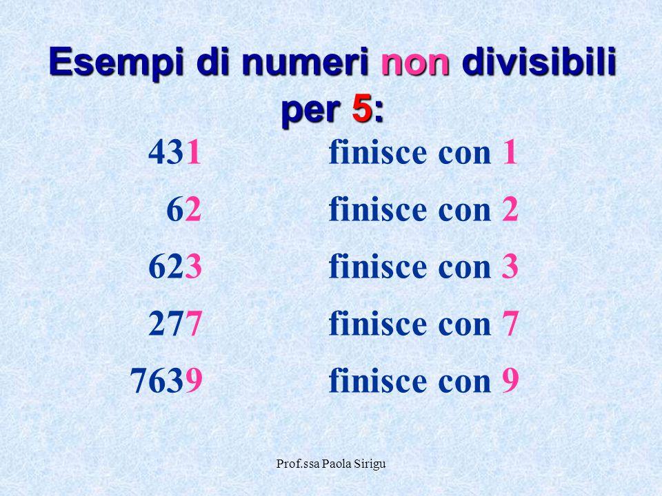Esempi di numeri non divisibili per 5:
