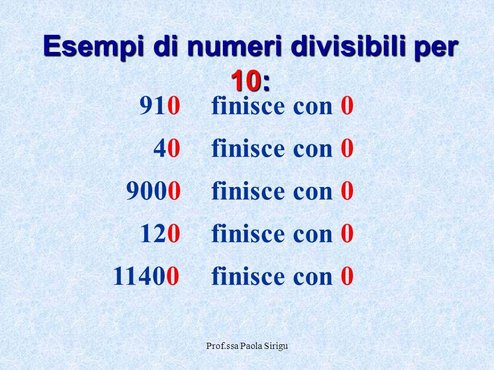 Esempi di numeri divisibili per 10: