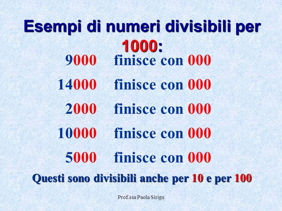 Esempi di numeri divisibili per 1000: