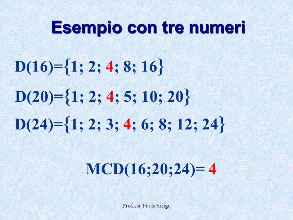 Esempio con tre numeri D(16)={1; 2; 4; 8; 16}