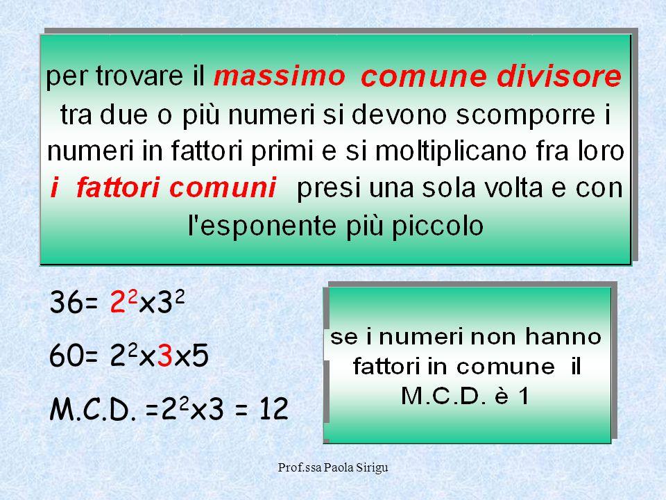 36= 22x32 60= 22x3x5 M.C.D. =22x3 = 12 Prof.ssa Paola Sirigu