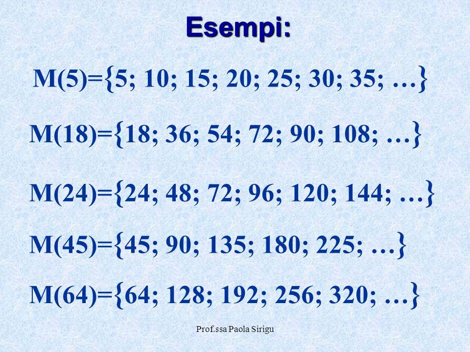 Esempi: M(5)={5; 10; 15; 20; 25; 30; 35; …}