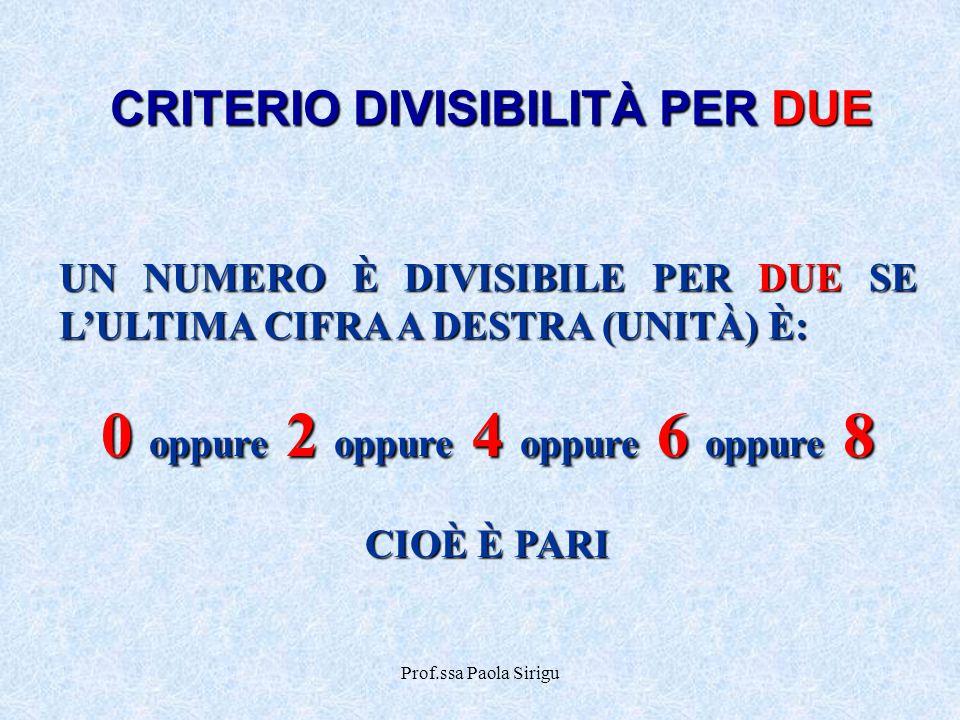 CRITERIO DIVISIBILITÀ PER DUE 0 oppure 2 oppure 4 oppure 6 oppure 8