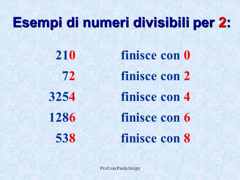 Esempi di numeri divisibili per 2: