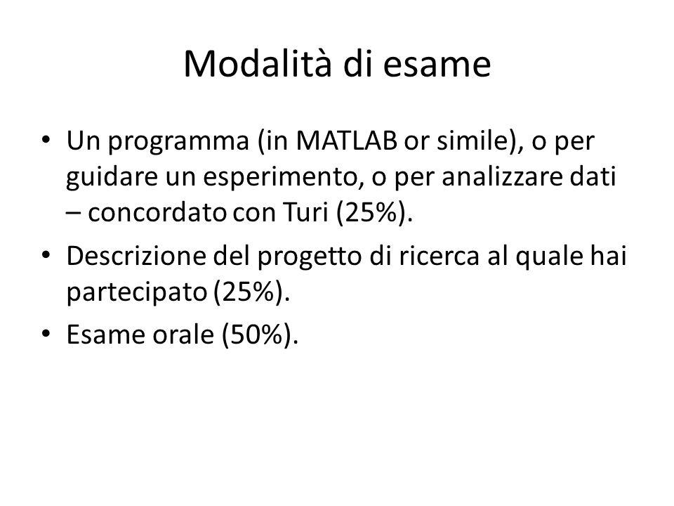 Modalità di esame Un programma (in MATLAB or simile), o per guidare un esperimento, o per analizzare dati – concordato con Turi (25%).