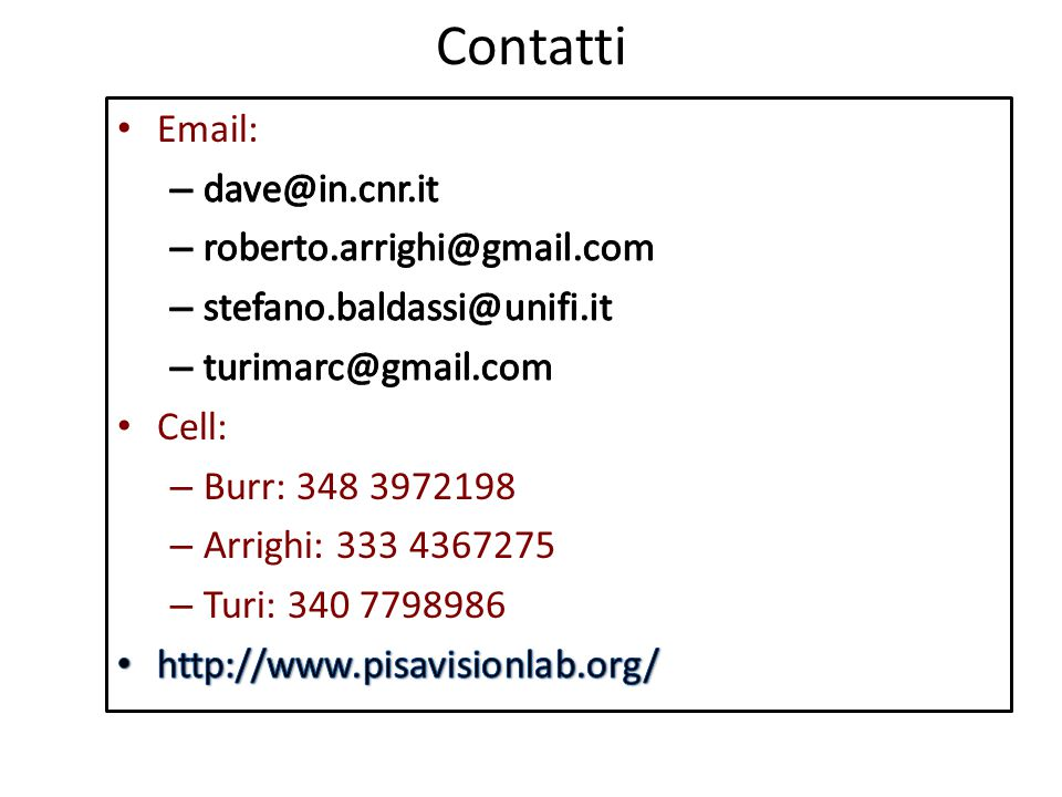 Contatti Email: dave@in.cnr.it. roberto.arrighi@gmail.com. stefano.baldassi@unifi.it. turimarc@gmail.com.