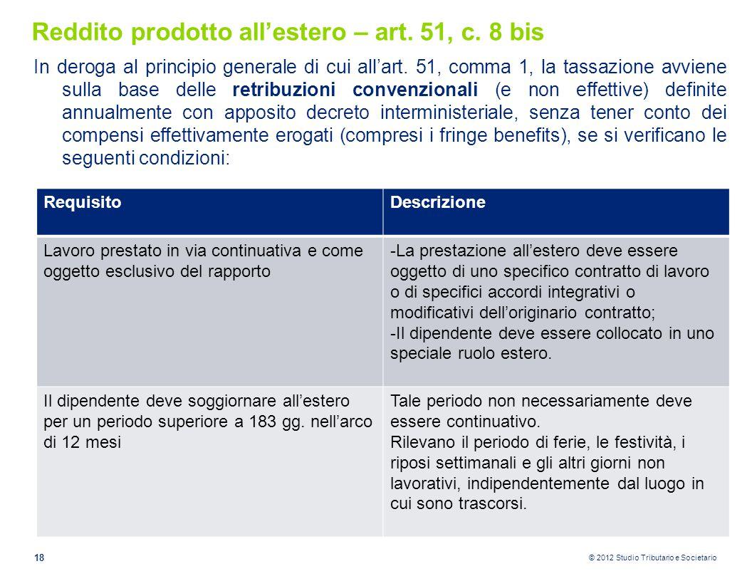 Reddito prodotto all'estero – art. 51, c. 8 bis