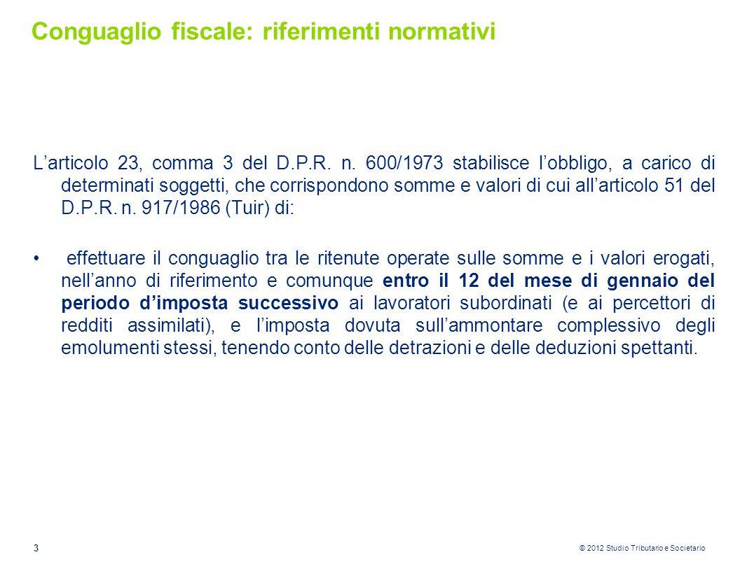 Conguaglio fiscale: riferimenti normativi