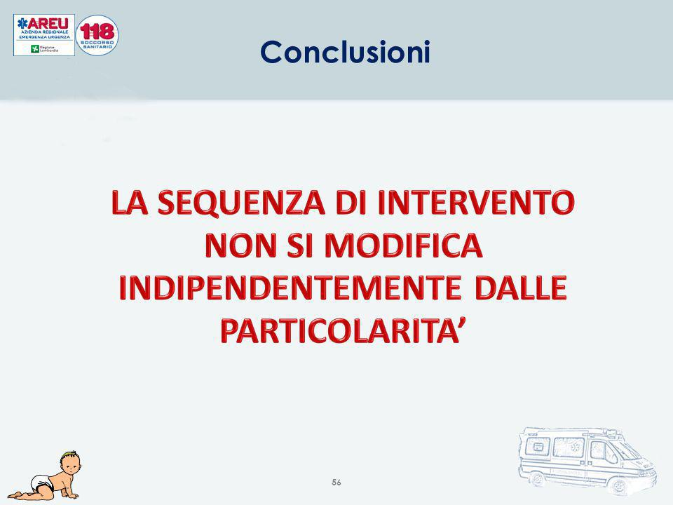 Conclusioni LA SEQUENZA DI INTERVENTO NON SI MODIFICA INDIPENDENTEMENTE DALLE PARTICOLARITA'