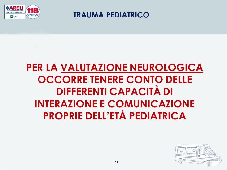 PER LA VALUTAZIONE NEUROLOGICA OCCORRE TENERE CONTO DELLE