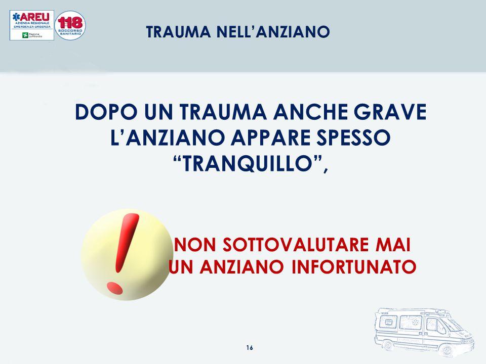 DOPO UN TRAUMA ANCHE GRAVE L'ANZIANO APPARE SPESSO TRANQUILLO ,