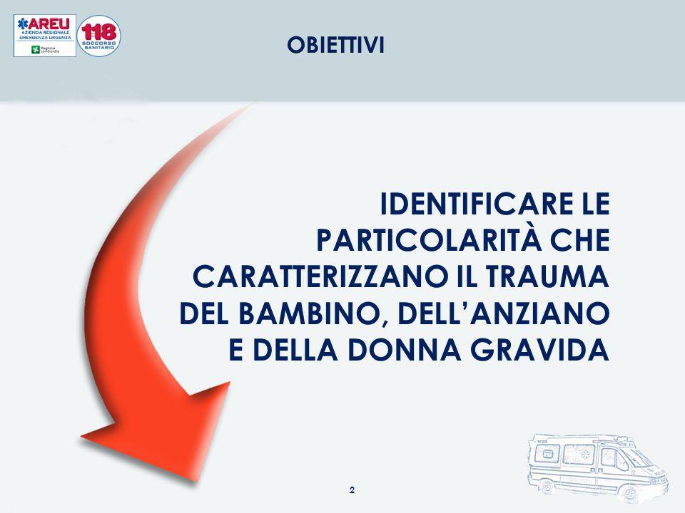 OBIETTIVI IDENTIFICARE LE PARTICOLARITÀ CHE CARATTERIZZANO IL TRAUMA DEL BAMBINO, DELL'ANZIANO E DELLA DONNA GRAVIDA.