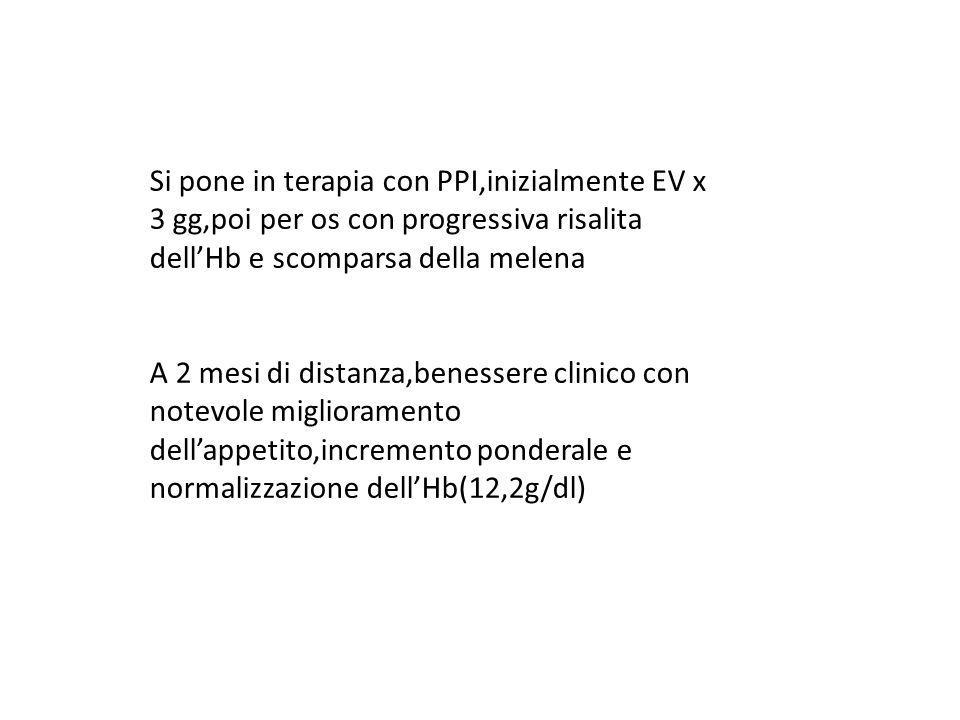 Si pone in terapia con PPI,inizialmente EV x 3 gg,poi per os con progressiva risalita