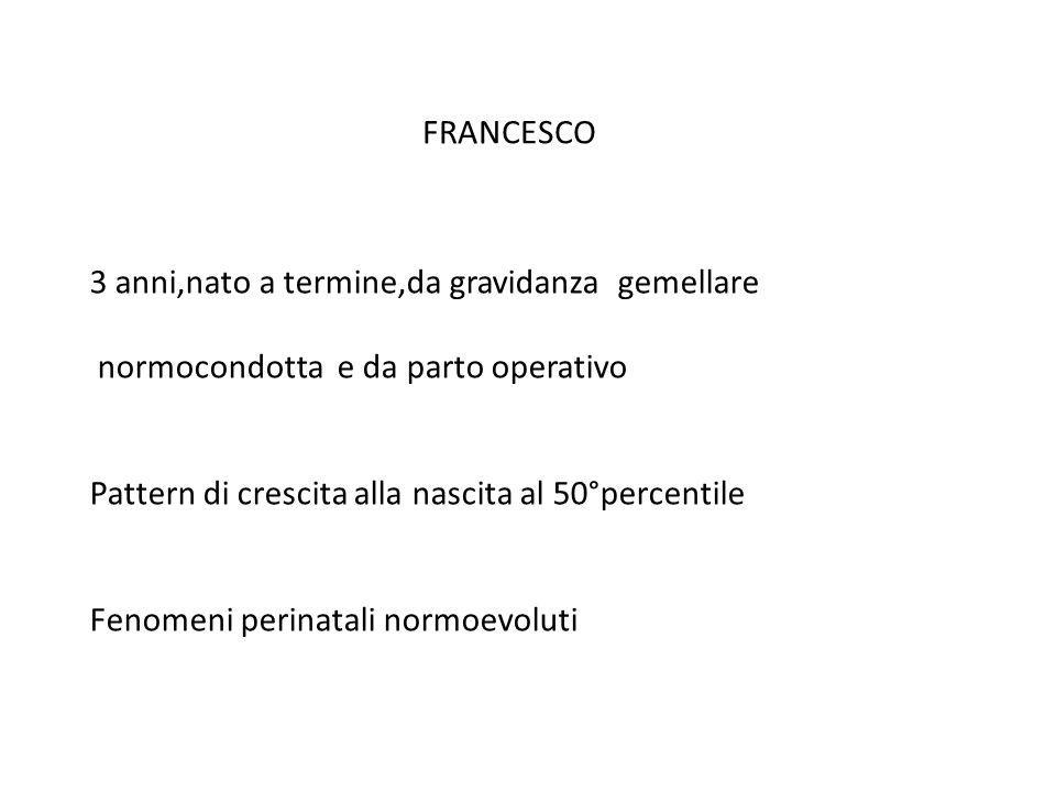 FRANCESCO 3 anni,nato a termine,da gravidanza gemellare. normocondotta e da parto operativo. Pattern di crescita alla nascita al 50°percentile.