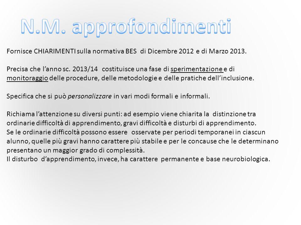 N.M. approfondimenti Fornisce CHIARIMENTI sulla normativa BES di Dicembre 2012 e di Marzo 2013.