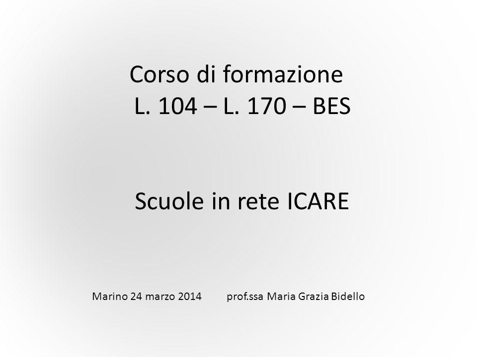 Corso di formazione L. 104 – L. 170 – BES Scuole in rete ICARE