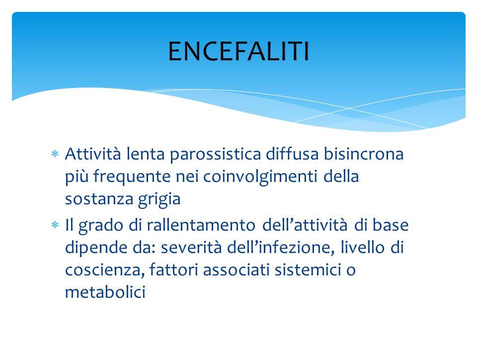 ENCEFALITI Attività lenta parossistica diffusa bisincrona più frequente nei coinvolgimenti della sostanza grigia.