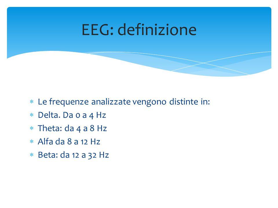 EEG: definizione Le frequenze analizzate vengono distinte in: