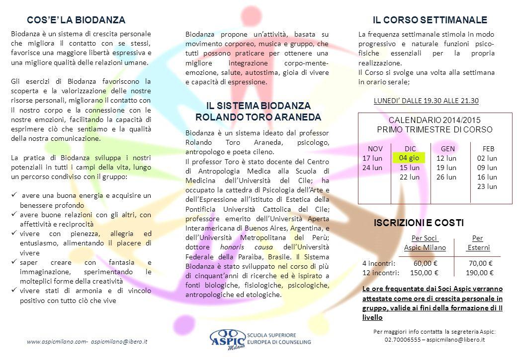 IL CORSO SETTIMANALE IL SISTEMA BIODANZA ROLANDO TORO ARANEDA