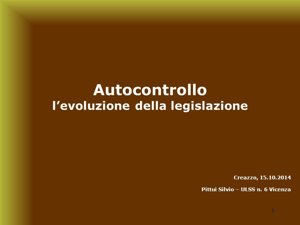 Autocontrollo l'evoluzione della legislazione