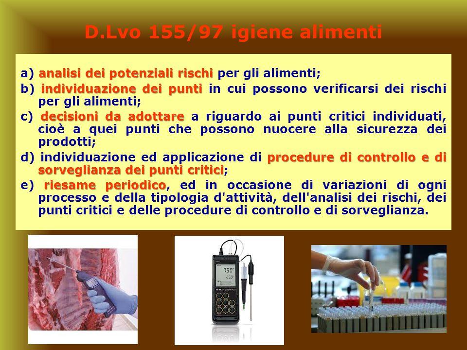 D.Lvo 155/97 igiene alimenti a) analisi dei potenziali rischi per gli alimenti;
