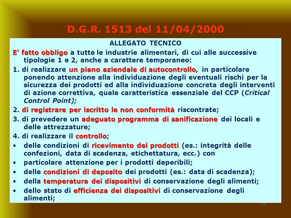 D.G.R. 1513 del 11/04/2000 ALLEGATO TECNICO