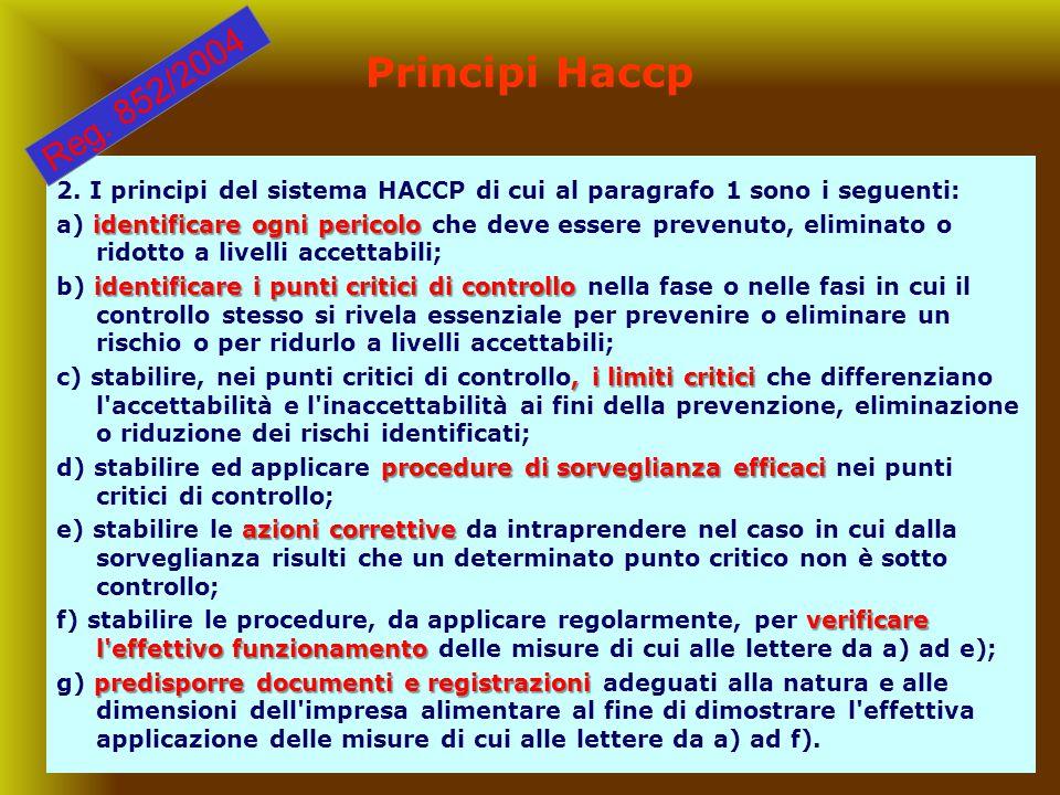 Principi Haccp Reg. 852/2004. 2. I principi del sistema HACCP di cui al paragrafo 1 sono i seguenti: