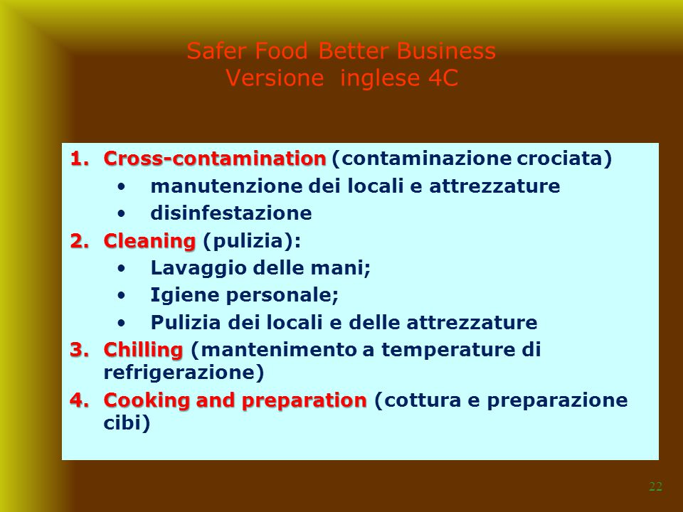 Safer Food Better Business Versione inglese 4C