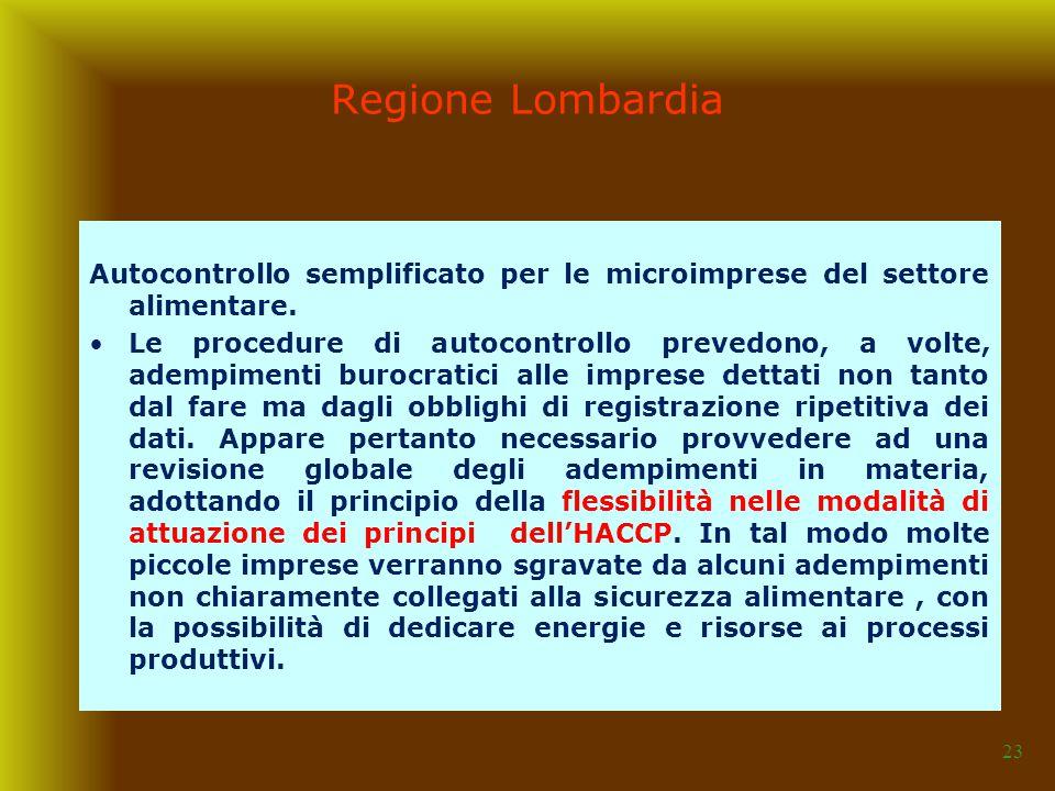 07/04/2017 Regione Lombardia. Autocontrollo semplificato per le microimprese del settore alimentare.