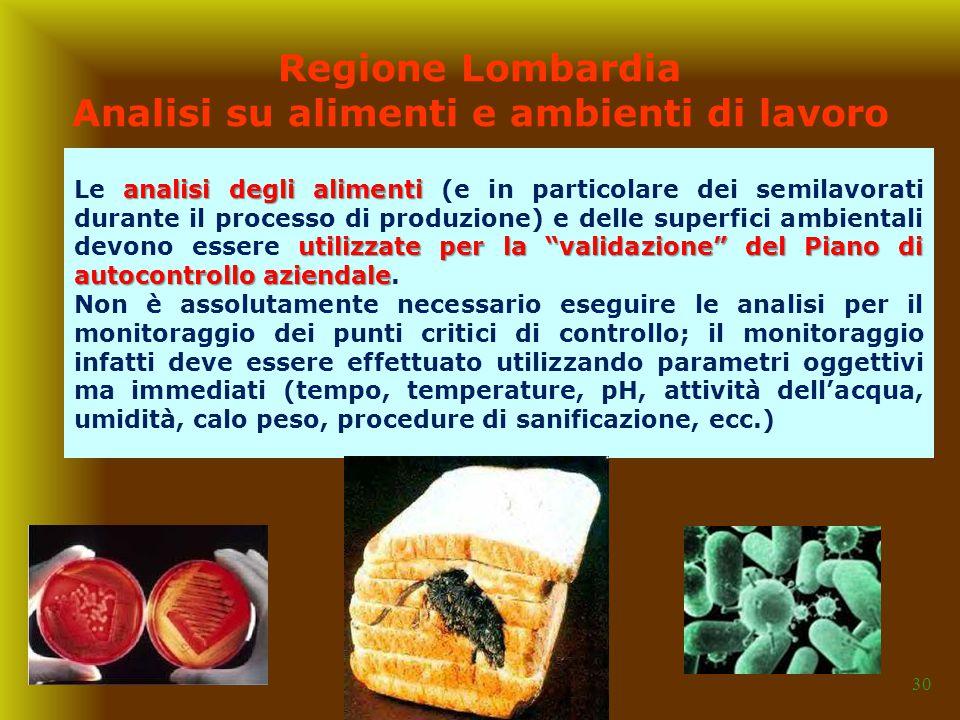Regione Lombardia Analisi su alimenti e ambienti di lavoro