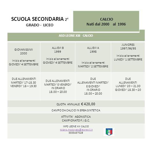 SCUOLA SECONDARIA 2° GRADO - LICEO