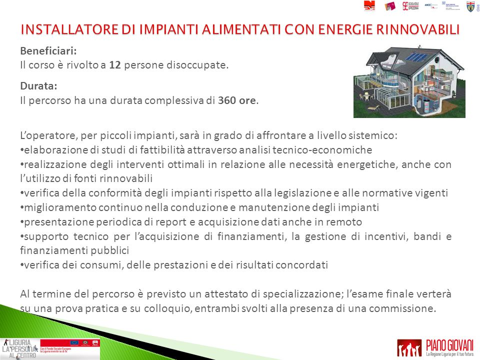 INSTALLATORE DI IMPIANTI ALIMENTATI CON ENERGIE RINNOVABILI