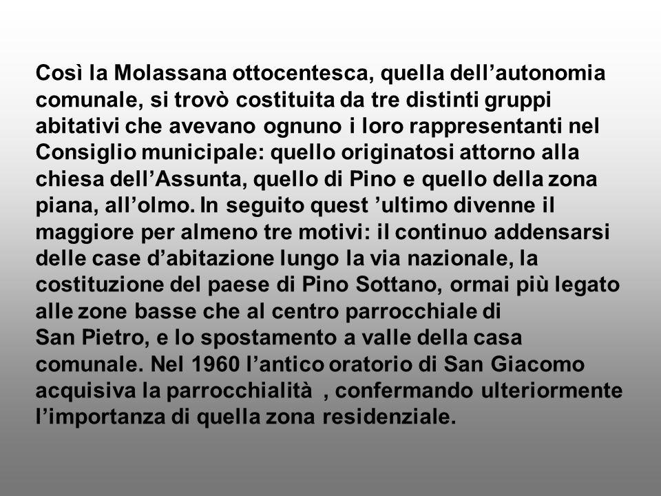 Così la Molassana ottocentesca, quella dell'autonomia comunale, si trovò costituita da tre distinti gruppi