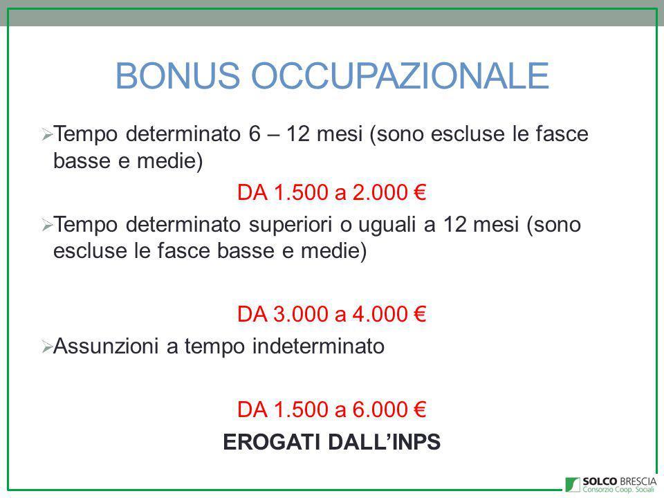 BONUS OCCUPAZIONALE Tempo determinato 6 – 12 mesi (sono escluse le fasce basse e medie) DA 1.500 a 2.000 €