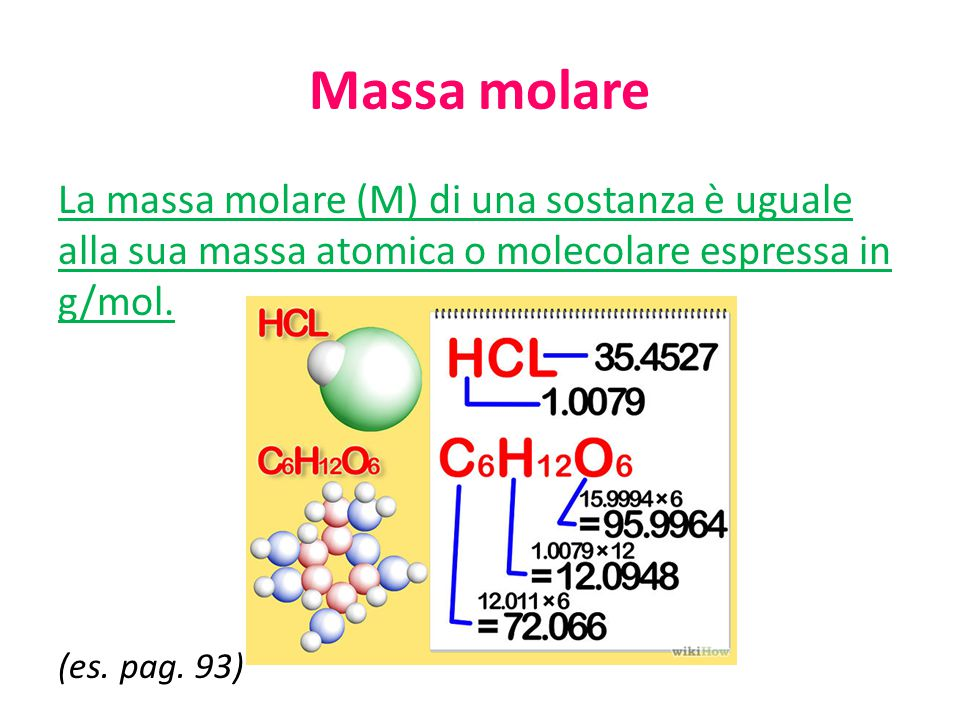 Massa molare La massa molare (M) di una sostanza è uguale alla sua massa atomica o molecolare espressa in g/mol.