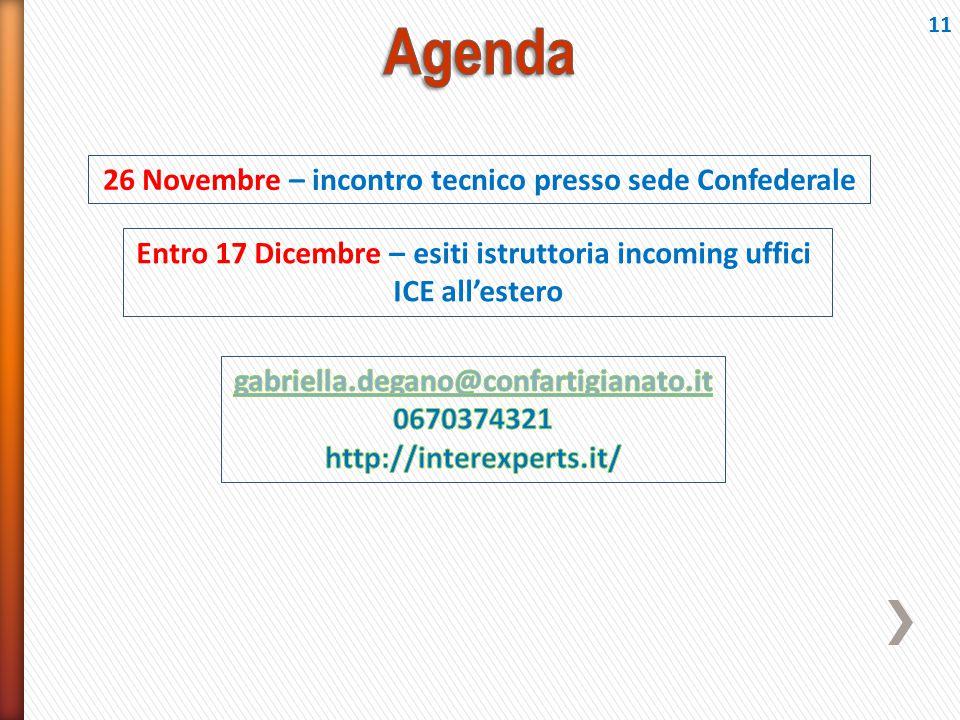 Agenda 26 Novembre – incontro tecnico presso sede Confederale